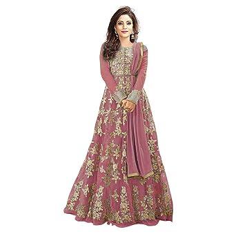 Navya Export Women's Net Dress Material (NE-5202-Pink_Multi-Coloured_Free Size) Dress Material at amazon