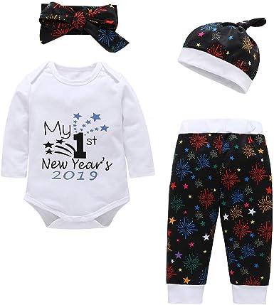 Amazon.com: Bebé recién nacido Mi primer año nuevo 2019 ropa ...