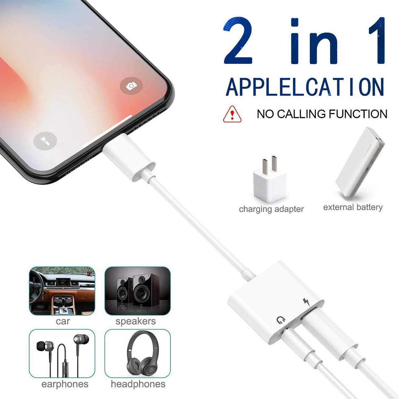 Headphone Adapter for iPhone 11 pro Max3.5mm Jack Car Charger AUX Converter Splitter Charge /& Audio Cables 2 in 1 for iPhone 7//7 Plus//8//X//10//11//XR//XS//XS Max Dongle Earphone Adaptor Support iOS System