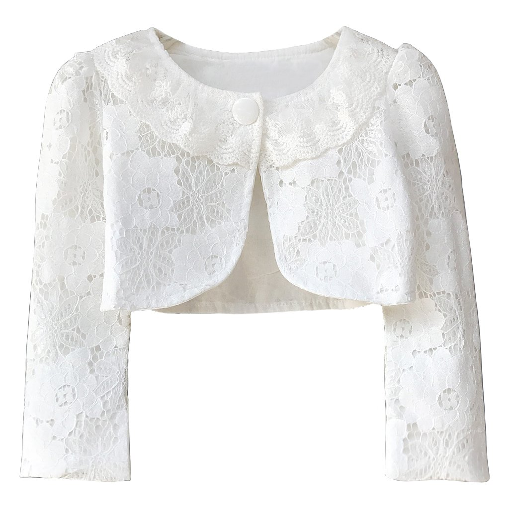 Ourlove Fashion Girls' Long Sleeve Open Front Lace Bolero Shrug Cardigan Top (White, 6-7 Years)