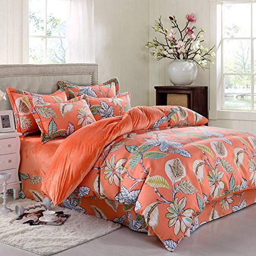 4-Piece Leaves Orange Bedding Set Bohemian Crystal Fine Hair Boho Quilt Bed Duvet Cover