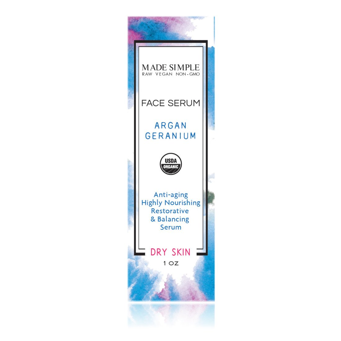 Argan Geranium Face Serum (Certified Organic) by Made Simple Skin Care