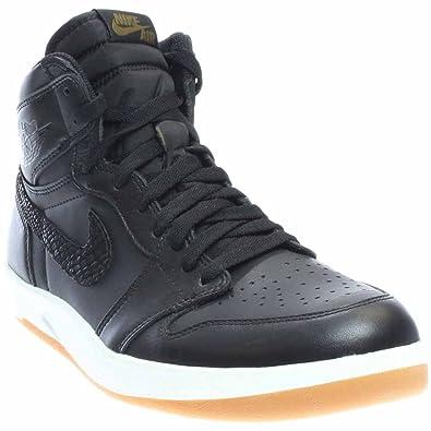Nike Mens Air Jordan 1 High The Return Black/Militia Green-White Leather  Size