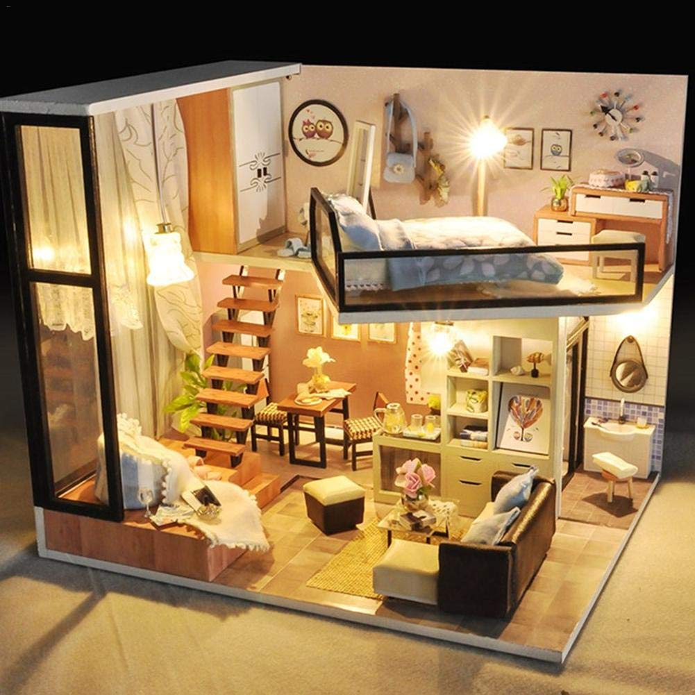 DIY Wooden Doll House Miniature Cabin Kit Novelty Girls Children