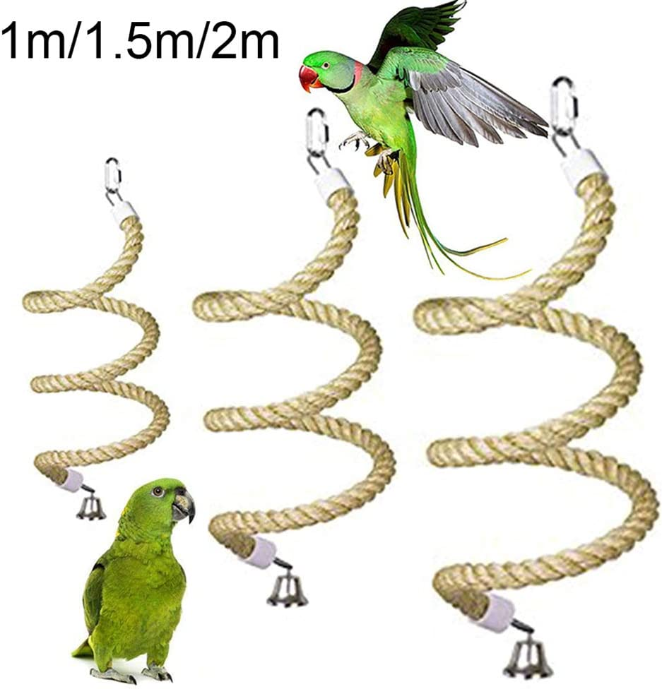 BESUFY Parrot Chewing Toys,Birds Swing with Bells for Medium Parrots Birds  African Grey Cockatoos Pet Bird Parrot Bell Stand Perch Cotton Rope Chewing Bar Cage Hanging Toy Random Color 1M