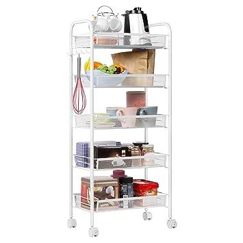 LANGRIA 5 Tier Kitchen Rolling Cart Wire Mesh Serving Utility Organization  Indoor Or Outdoor Cart
