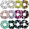 12 Pieces Volleyball Sport Hair Scrunchies Volleyball Sport Hair Ties Silk Satin Elastic Scrunchies Hair Bands Ponytail Holders for Players Teams Gifts