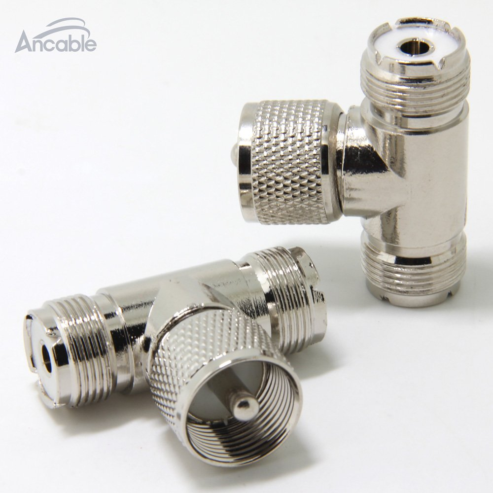 Ancable UHF PL-259 Male to 2 UHF PL-259 Female Triple T Shape RF Coaxial Splitter Adapter Connector for CB Ham Radio Antenna Pack of 2
