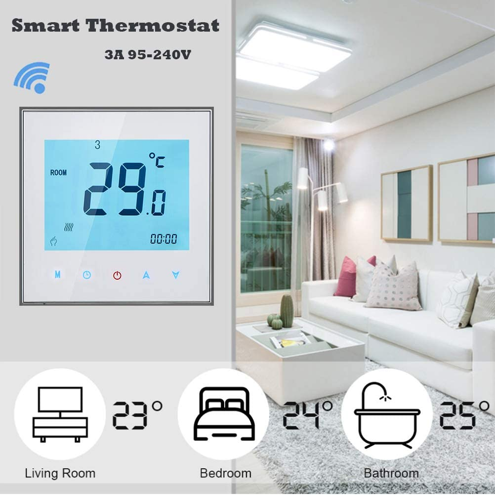 Qiumi Thermostat Wifi intelligent Thermostat deau programmable Wifi Contr/ôleur de temp/érature daffichage LCD Compatible avec Alexa Google Home IFTTT 5A