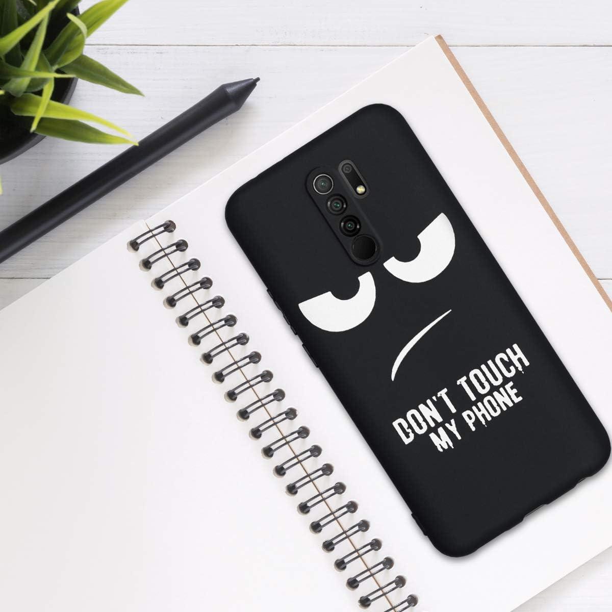 Carcasa de TPU Dont Touch my Phone en Blanco//Negro kwmobile Funda Compatible con Xiaomi Redmi 9