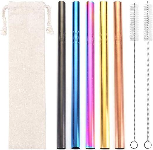 Starmood Lot de 10 pailles r/éutilisables extra longues en silicone de qualit/é alimentaire avec 2 brosses