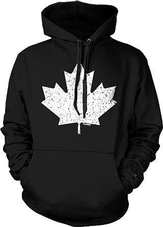 Mens Hooded Sweatshirt Essential Canadian Flag Canada Maple Leaf Cotton Fleece Hoodie for Mens