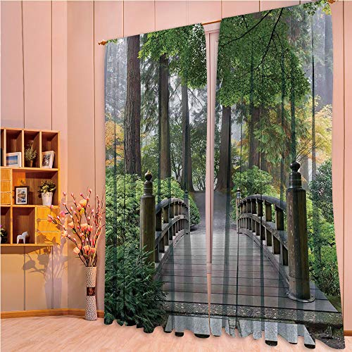 ZHICASSIESOPHIER Finel Kids Curtains for Living Room Bedroom Window Curtains Baby Room Lovely Children Curtains Drapes,Wooden Bridge at Japanese Garden with Various Types 108Wx84L Inch from ZHICASSIESOPHIER