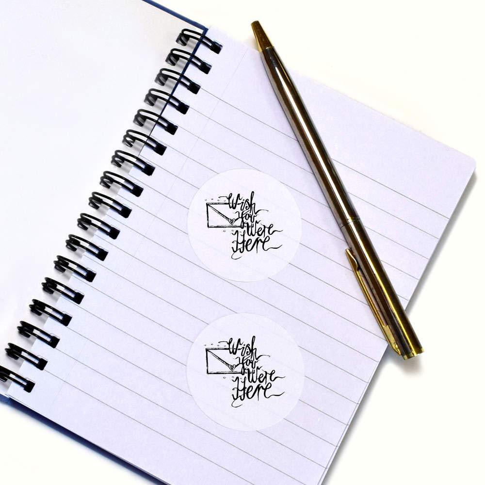 SK00010971 Azeeda 24 x 40mm Redondas Wish You were Here Pegatinas Creación de álbumes de recortes