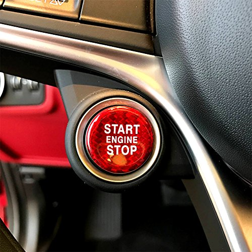 Carmonsons for Alfa Romeo Giulia Stelvio Carbon Fiber Engine Start Stop Button Trim Cover Stickers Accessories Car Styling (Red)