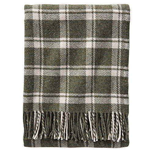 Pendleton Wool Eco-wise Washable Throw Blanket (Spruce/Bone Plaid, One Size) (Blankets Plaid Wool)