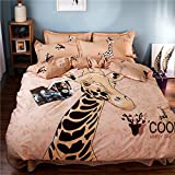 Newrara Children Bedding Kids Cartoon Bedding Lovely Giraffe Printing 3-Piece Cotton Duvet Cover Set (Twin, light orange)