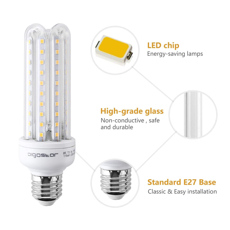 Aigostar - Bombilla LED B5 T3 4U, E27, 15 W equivalente a 120 W, 3000K, 1200 lúmenes, no regulable -Pack de 5: Amazon.es: Iluminación