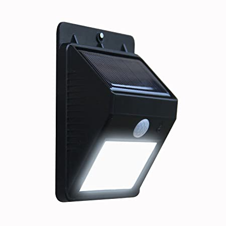 ONEPEARL Solar Panel Power Light Wall Lamp Motion Sensor Luminaria Energy 20 LEDs Waterproof Sunlight for Garden Outdoor Stairs (Black)