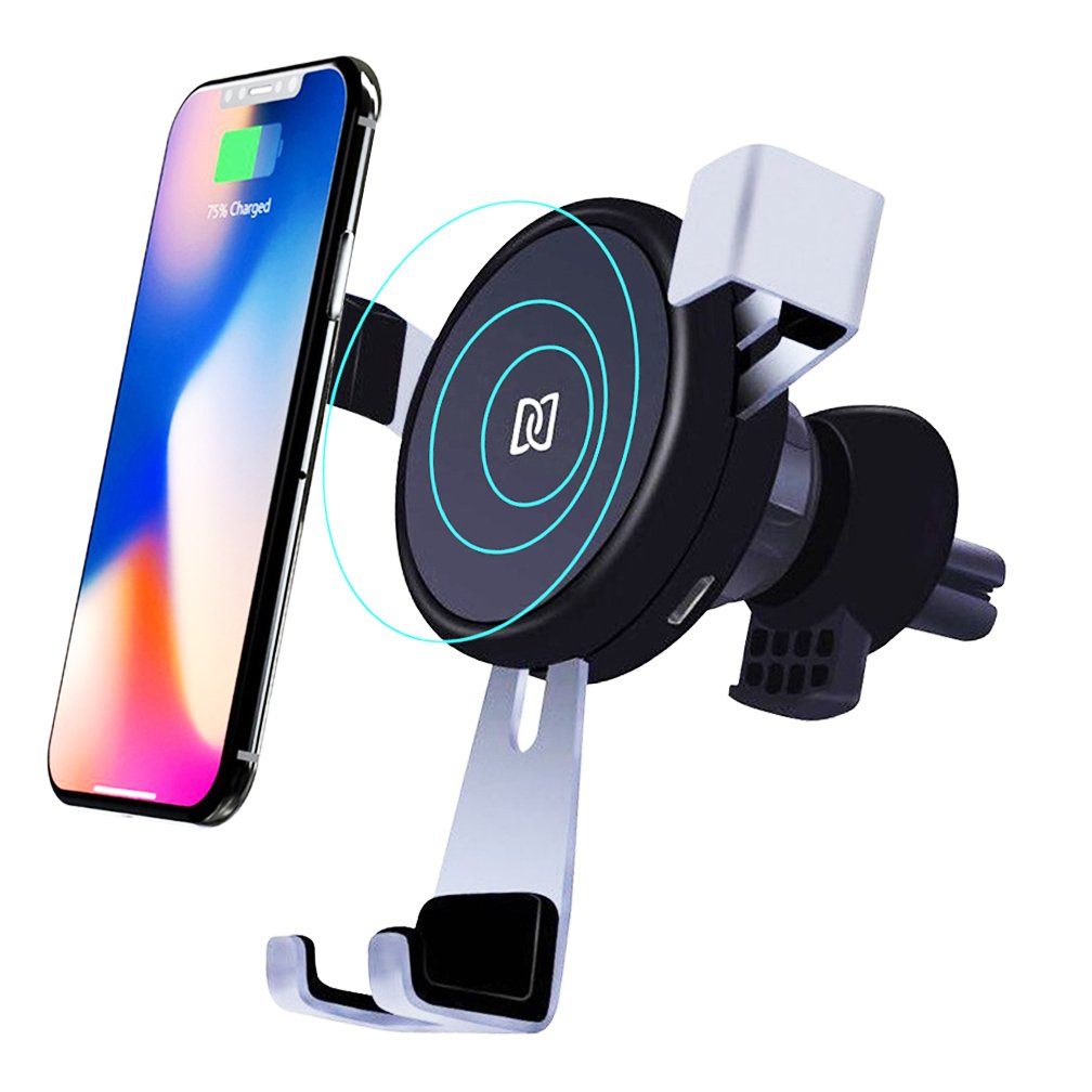 10W Wireless Car Charger Mount, Fast Charge for iPhone X 8/8 Plus, Samsung Galaxy Note 8, S8/S8 Plus, S7/S7 Edge, Standard Charge for All Qi Enabled Devices, BlueSN Gravity Car Air Vent Phone Holder D8