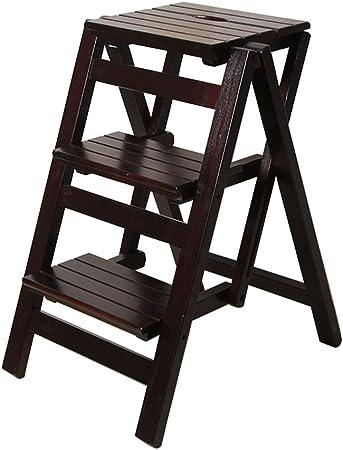 Taburetes escalera Escalera de ascenso móvil interior Escalera de hogar de madera maciza Escalera multifuncional Racks domésticos Escalera plegable triple Escritorio Rack de almacenamiento plegable: Amazon.es: Hogar