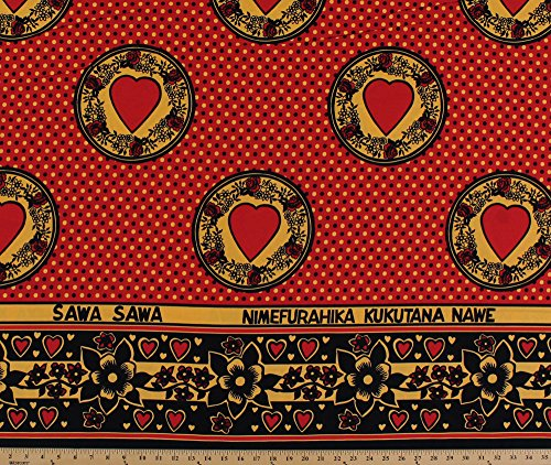 African Design Words Hearts Polka Dots Flowers Red Cotton/Blend Fabric Print by The Yard (7670g-9l)