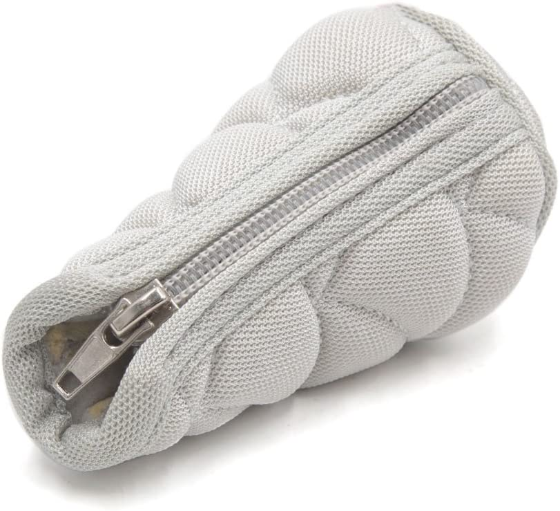 uxcell Gray Zipper Closure Microfiber Gear Shift Knob Shifter Cover Protector for Car