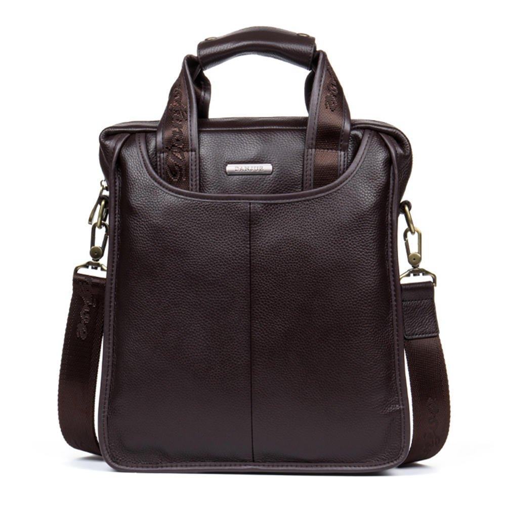 DANJUE new first layer leather business handbag shoulder Messenger bag men Korean version of the tide vertical section 179-3 brown