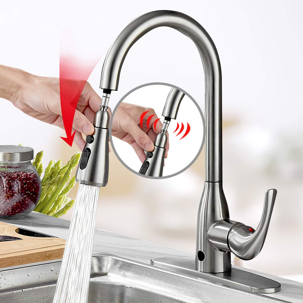 Touchless Kitchen Faucet Two-Sensor One-Handle High Arc Kitchen Faucets with Dual Function Pull Down Spray Head, Best Commercial Faucet with Deck Plate, Brushed Nickel PVD by badiJum (Image #2)