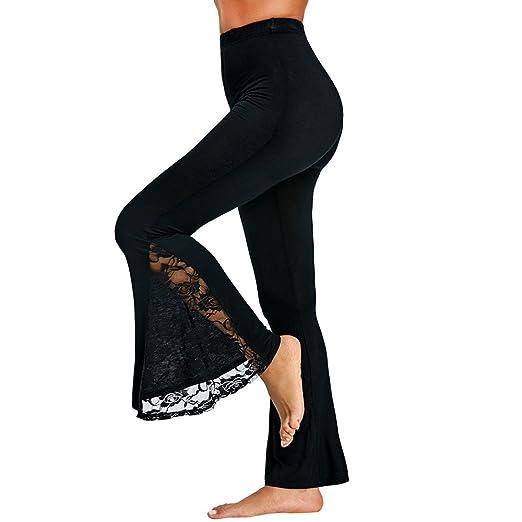 805dd954db442 JJLIKER Women Lace Panel Wide Leg Flare Pants Fashion High Waist Trousers  Stretch Yoga Dance Fitness