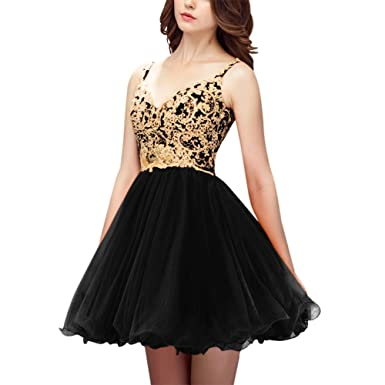 LeoGirl Womens Gold Lace Appliques Tulle Short Prom Dresses Spaghetti Strap V-Neck Homecoming Party