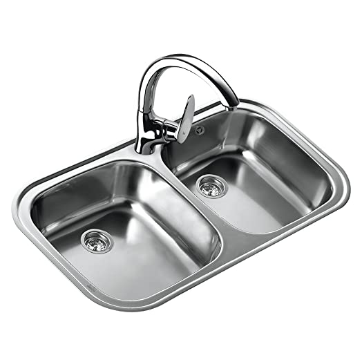 Teka 11107025 Stainless Steel Kitchen Sink with Double Bowl - Grey ...