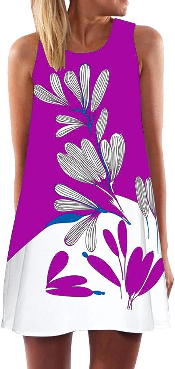 AIFGR Falda de señora Damas Mini Vestido de Noche de Fiesta sin Mangas con Estampado de Fiesta de Verano Boho Beach(Morado, M): Amazon.es: Ropa y accesorios