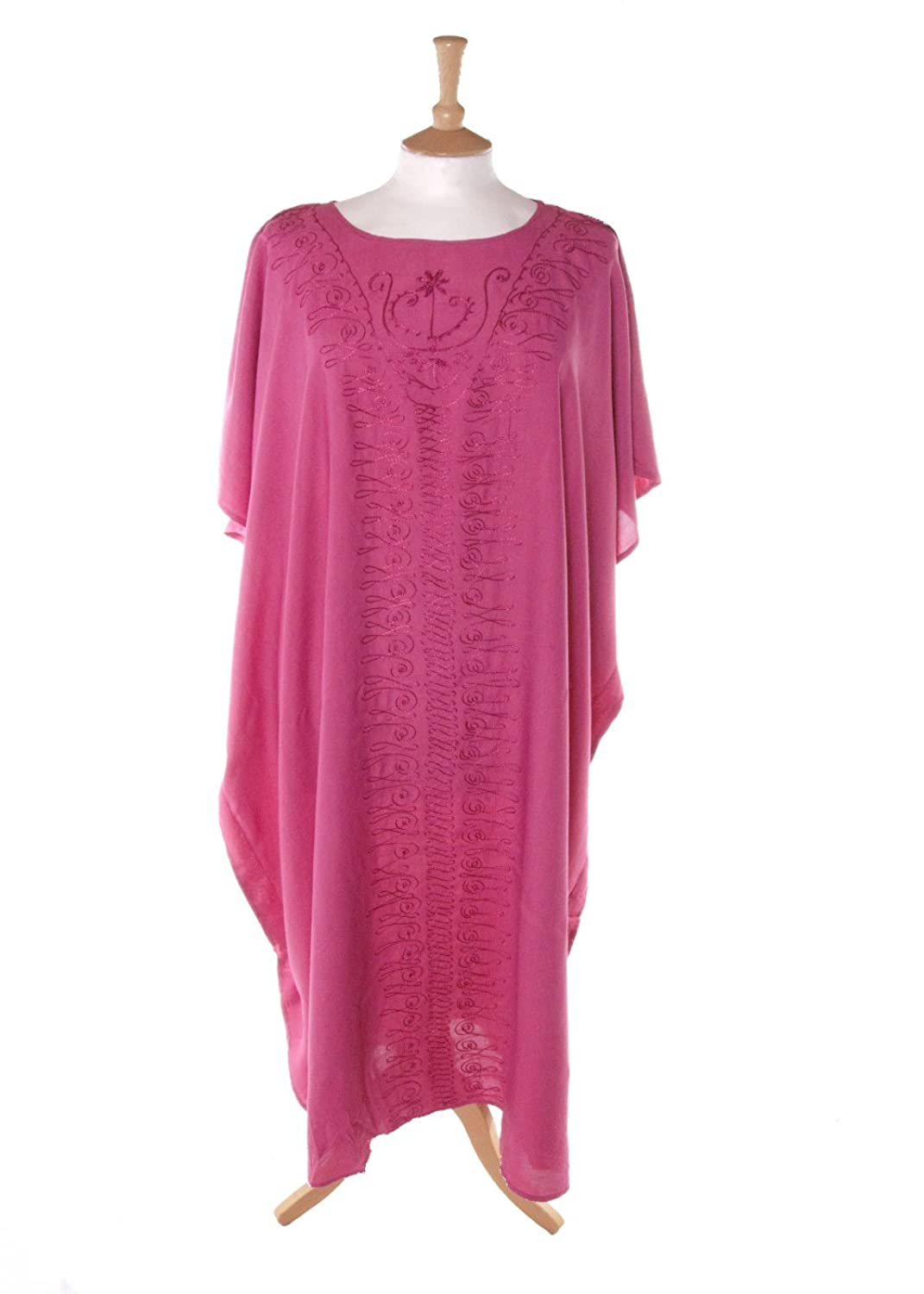 Didi 6064 Plain Beaded Kaftan in Pink sizes 14-34