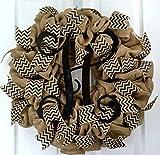 Black Burlap Chevron Vine Everyday Initial Monogram Front Door Wreath - LOTS OF COLORS!!
