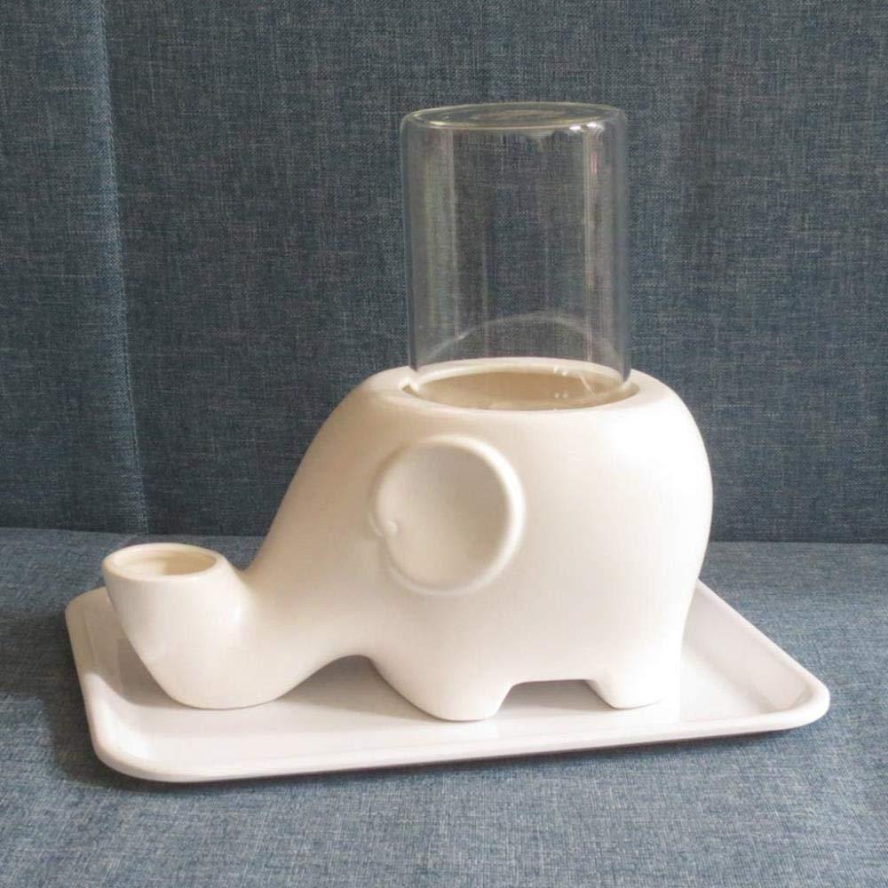 HHXX Pet Drinking Bowl, Cat Water Dispenser Ceramic Not Wet Mouth Beard Chin Pet Cat Dog Drinking Water Dispenser (Color : White)
