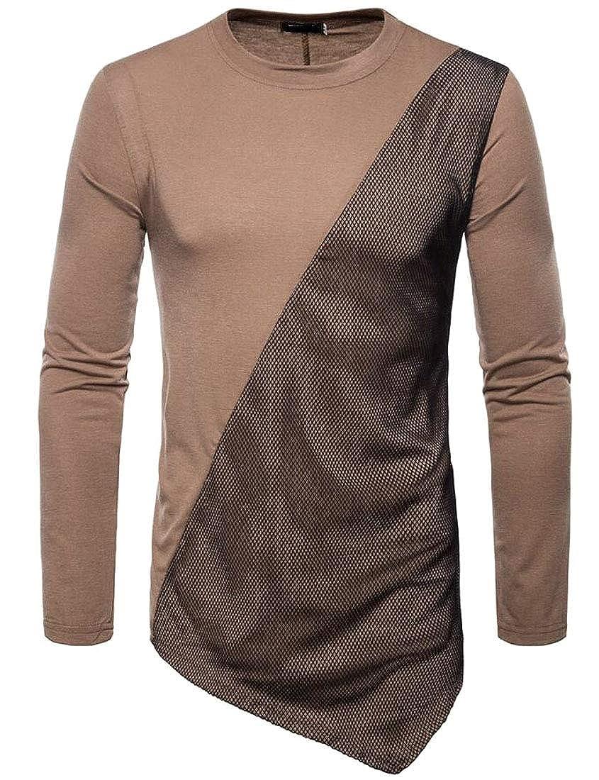 Wilngo Men Autumn Fall Hip-hop Long Sleeve Pullover Irregular Tee Top T-Shirts