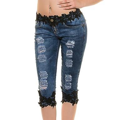 740b3bb629a44 Hibote Jeggings Femme Taille Basse Jeans Droite Jeans avec Dentelle 3/4 Skinny  Pantalons Décontracté