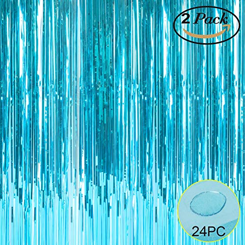 Foil Fringe Metallic Curtain Backdrops - With Balloon Sticks 3.3FTX6.6FT Tinsel Shiny Curtains Perfect for Photo Booth Party/Window/Door Decorative Fringe Curtains (Pack of 2) Light Blue