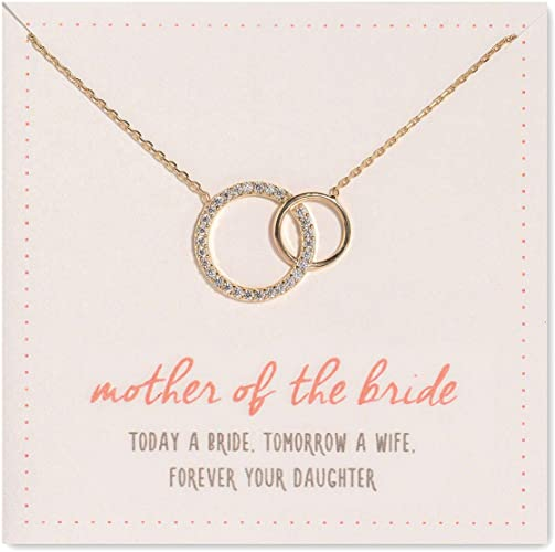 Interlocking Circles Pendant Necklace in Silver A+O Mother and Daughter Jewelry Gift Gold Rose Gold