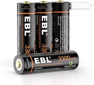 EBL Pilas Recargables AA 3300mWh Alta Capacidad con Cable Micro USB, Pilas AA Precarga y Baja Autodescarga Pilas 3300mWh (NO 3300mAh)