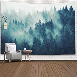 EMMTEEY Tapestry Wall Hanging, Tapestries Décor Living Room Bedroom for Home Inhouse by Printed 92.5X70.9 Inches for Misty Landscape Fir in Hipster Vintage Retro Style