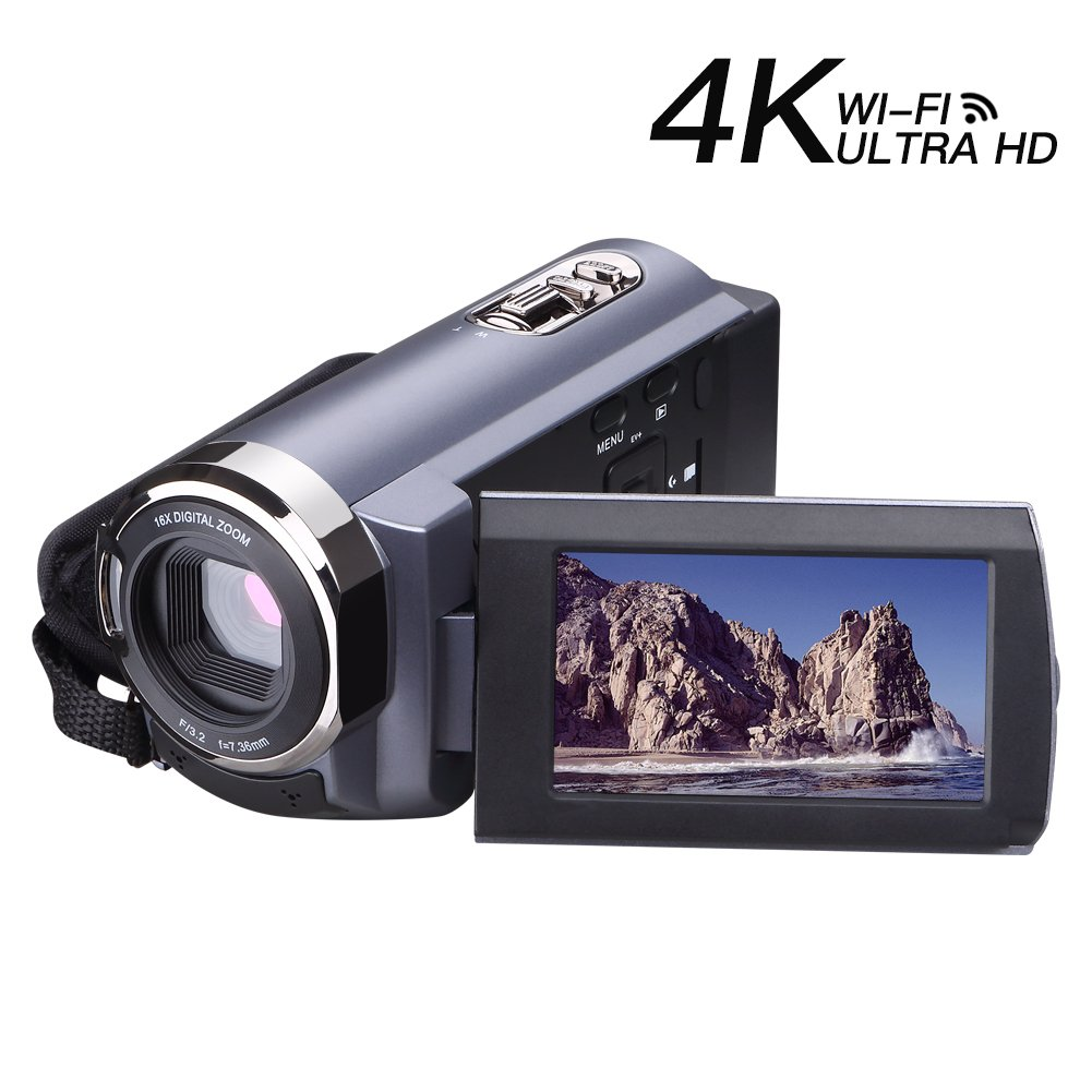 Camcorder 4K 1080p 60fps 24MP 16X Digital Zoom 3.0' Touch Screen Video Camcorder Ultra HD with Wi-Fi and IR Night Vision