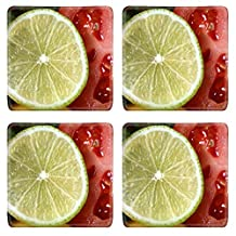 Luxlady Natural Rubber Square Coasters IMAGE ID 31563758 close up of assorted cut ripe fruits and vegetables studio