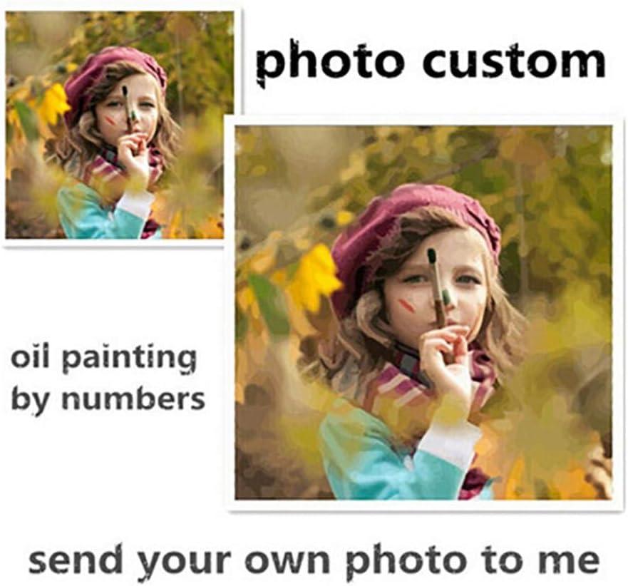Pintura Digital DIY para ni/ños Pintura por numeros Kit Digital para Principiantes sin Marco 40 * 50cm Haipeiy Personalizaci/ón de Fotos Personalizada