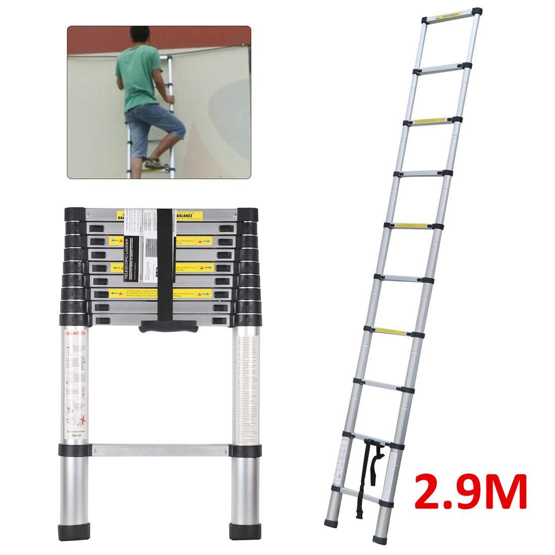 Quieting 2.6M Multi-Purpose Aluminium Telescopic Ladder DIY Portable Foldable Extension Ladder
