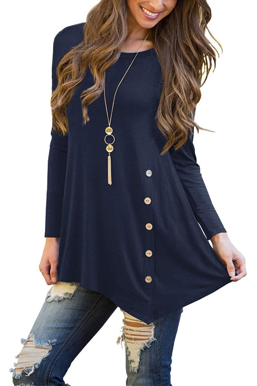 b6f4061a1b2 Sweetnight Women's Scoop Neck Long Sleeve Asymmetrical Hem Button Trim Tunic  T Shirt Plus Size (XL, Dark Blue)