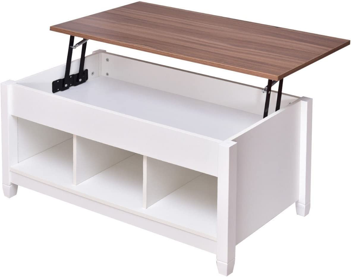 Low Coffee Table with Hidden Lift Top and Lower Storage Compartment for Contemporary Home and Living Room White