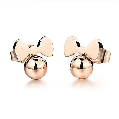 ef921f6863e5 Destino Amor joyas Cute Rosa Chapado en oro Little ratón Stud Pendientes para  niñas Mujeres