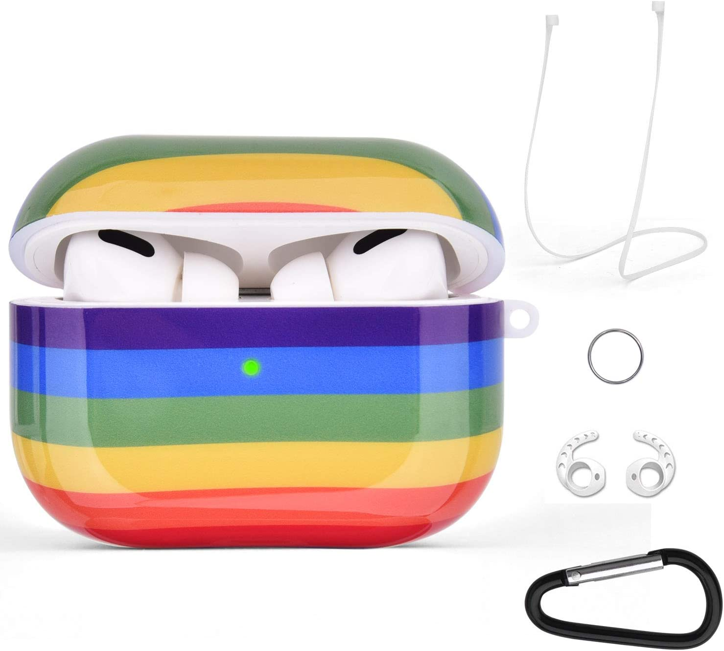 Airpods Pro Case Cover Rainbow, VIGOSS Compatible with Apple 2019 Airpods 3 Charging Case, Glossy Protective Hard Case with Keychain for Women, Men, Girls, Wireless Charging